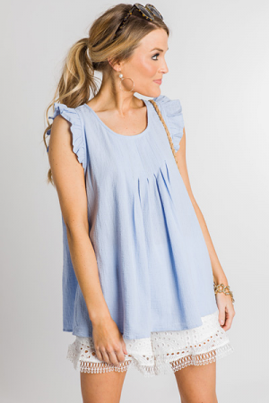 Can't Pleat Me Top, Blue