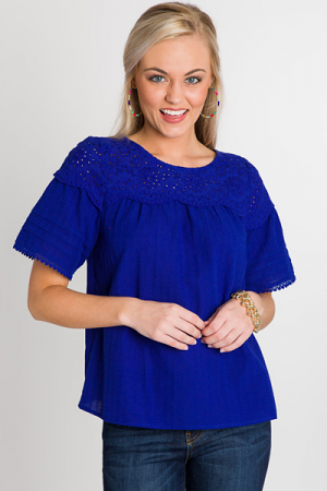 Lace Yoke Top, Cobalt