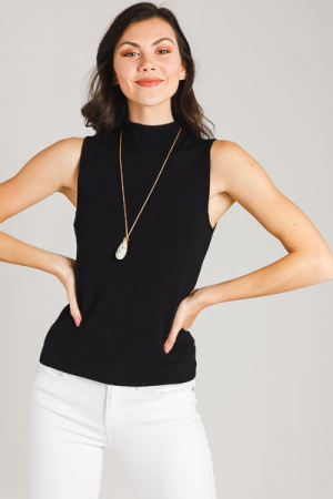Sleeveless Mock Sweater, Black