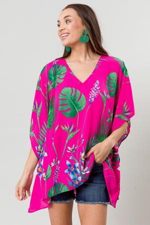Amy V Tunic, Fuchsia Palm