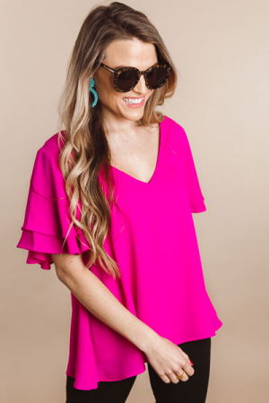 Flutter Sleeve Blouse, Neon Berry