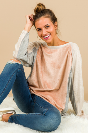 Teddy Colorblock Pullover, Rose