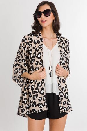 Taupe Leopard Kimono