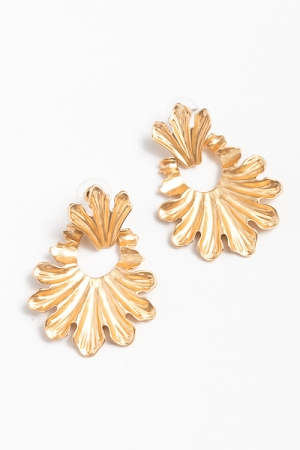 Hammered Hagan Earrings, Gold