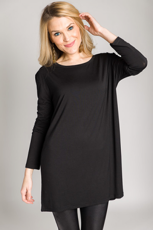Straight Fit Piko Tunic, Black