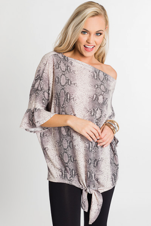 Taupe Tie Snake Top