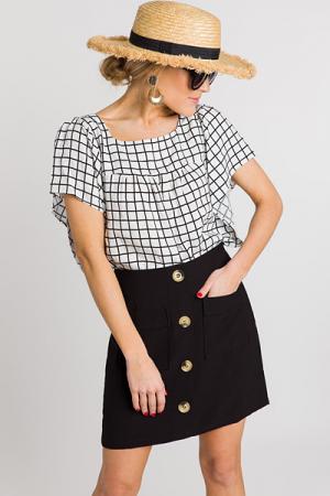 Buttoned Mini Skirt, Black