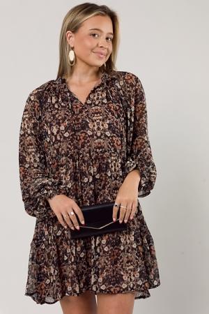 Full Swing Floral Dress, Black