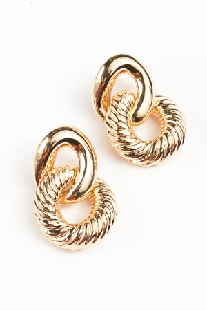 Textured Linked Earrings, Gold