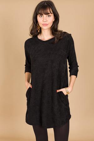 Chenille Pocket Dress, Black