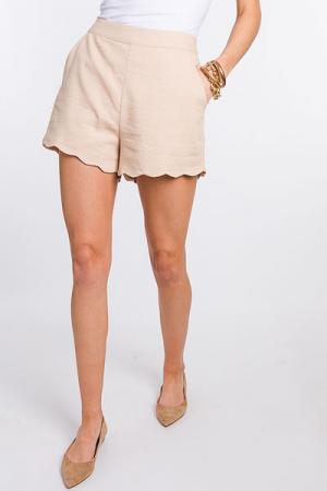 Scallop Hemline Shorts, Taupe