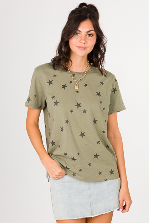 Distressed Star Tee, Olive