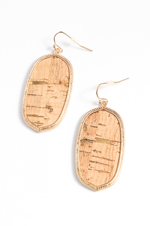 Cork Hexagon Earring