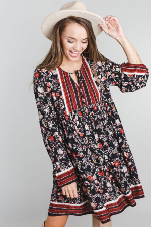Floral Border Bell Sleeve Dress