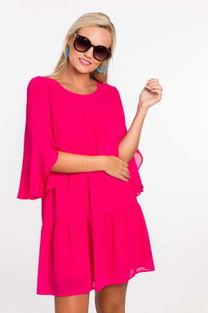 Tiered Chiffon Dress, Hot Pink