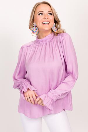 Holly Satin Blouse, Lavender
