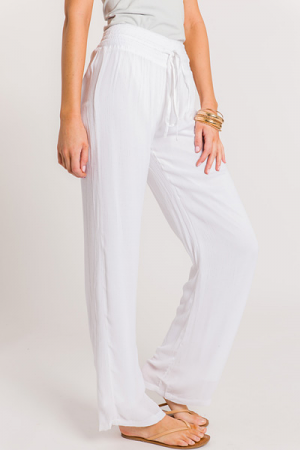 Smocked Waist Pants, White