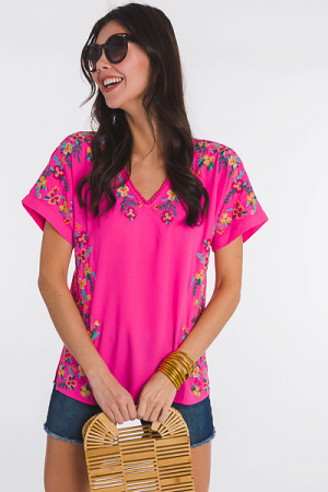 Aloha Embroidery Top, Pink
