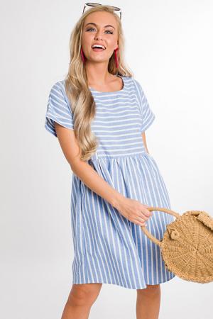 Washed Stripe Babydoll Dress