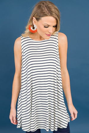 The Best Thing Tunic, Navy Stripe