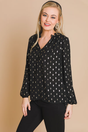 Starlight Dot Blouse, Black