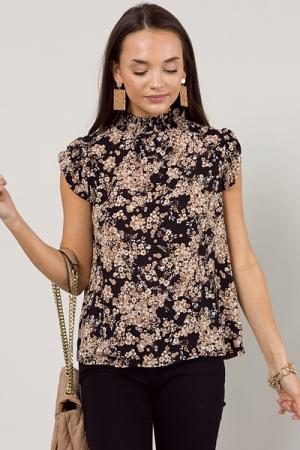 Woven Floral Blouse, Black