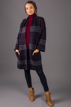 Cold Weather Cardi, Navy Plaid