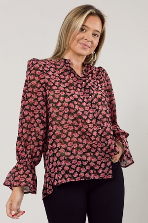 Rose Button Up Blouse