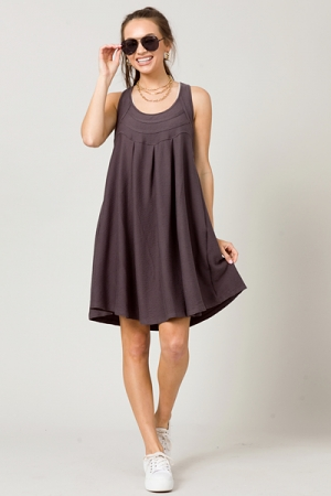 Stretchy Scoop Dress, Charcoal