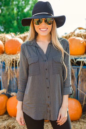 Striped Classic Button Top