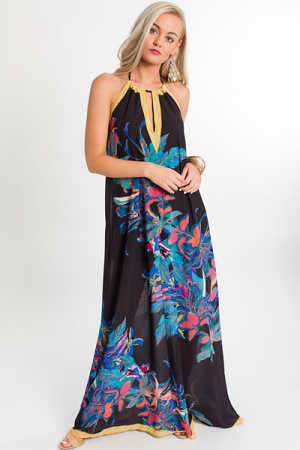 Abstract Halter Maxi