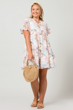 Into You Floral Dress, Pink