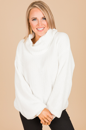 Chenille Cowl Sweater, White
