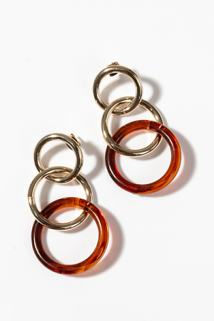 Brown Acrylic Rings Earring