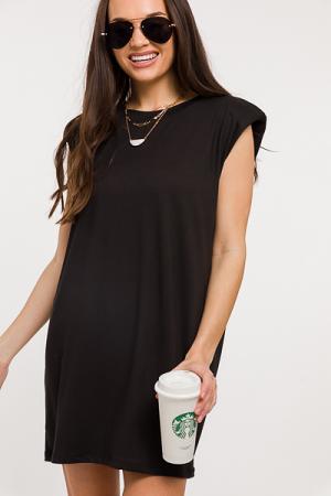 Shoulder Pads Solid Dress, Black