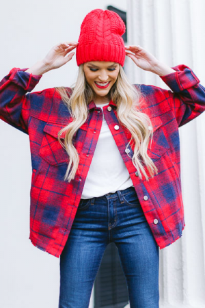 Plaid Raw Hem Jacket, Red