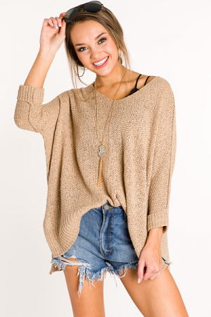 Folded Cuffs Sweater, Taupe