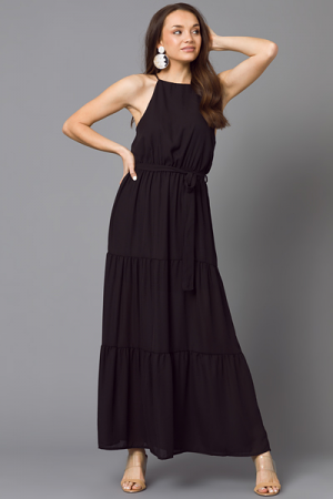 Laura Belted Maxi, Black