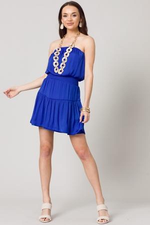 Satin Strapless Mini Dress, Blue
