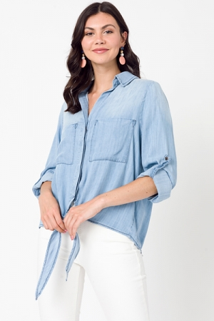Tie Front Chambray Top, Washed Denim