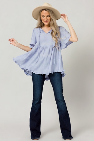 Texture Lines Babydoll Top, Periwinkle