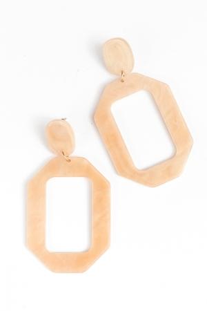 Acrylic Octagon Earrings, Beige