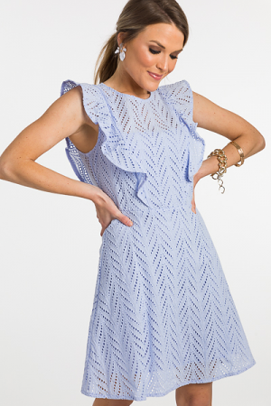 Ice Blue Eyelet Dress