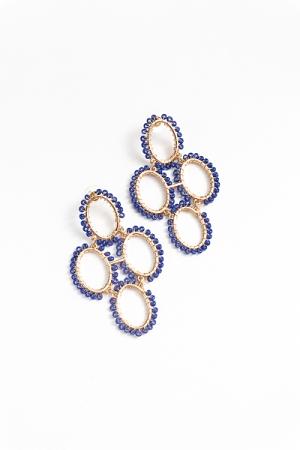 Oval Bead Link Earring, Royal