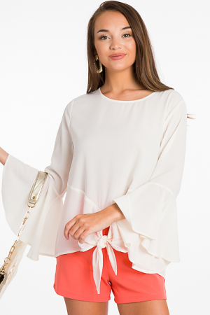 Knot Around Blouse, Cream
