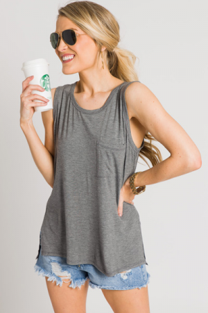 Bamboo Pocket Tank, Charcoal