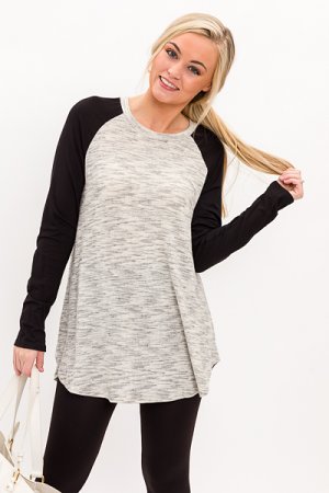 Heathered Baseball Tunic, Black