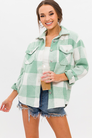 Be Square Shacket, Mint Green