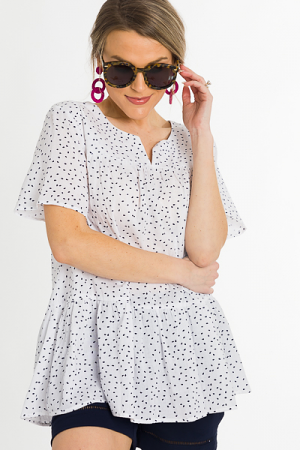 Raining Spots Top, White