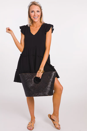 Gauze and Effect Frock, Black